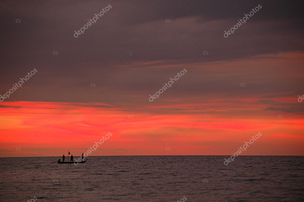Tailboat on the sea and sunset  Stock Photo #2811834