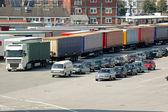 Cars and trucks — Stock Photo