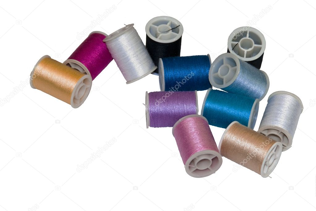Assortment of Sewing Threads Isolated on White with Room For Text  Stock Photo #3690149