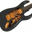 Black and gold  mechanical guitar - Stok fotoğraf