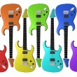 Rainbow colored electric guitars - Foto Stock