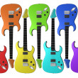 Rainbow colored electric guitars - Stock fotografie