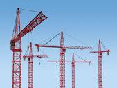 Five Cranes on Site — Stock Photo