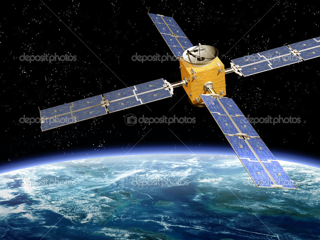 Illustration of a satellite orbiting the earth  Foto de Stock   #2934133