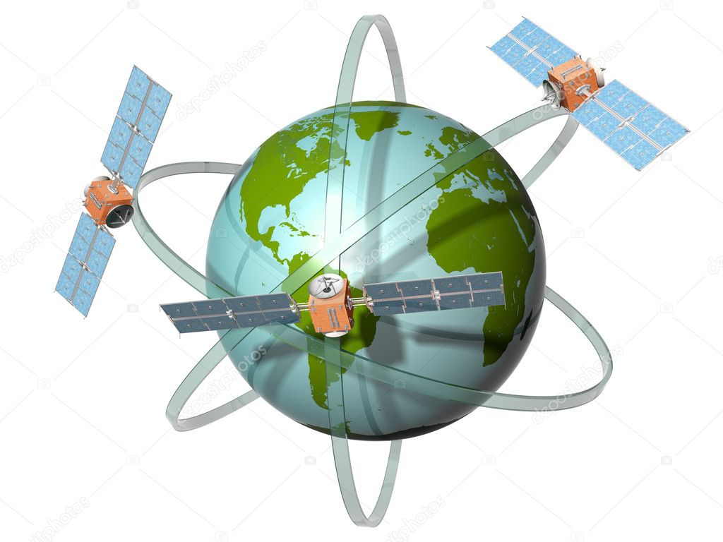 Isolated illustration of satellites orbiting the earth — Stock Photo #2942126