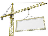Crane lifting blank sign — Stock Photo