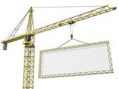 Crane lifting blank sign — Stock Photo