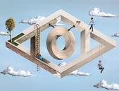 Arquitectura geométrica imposible — Foto de Stock