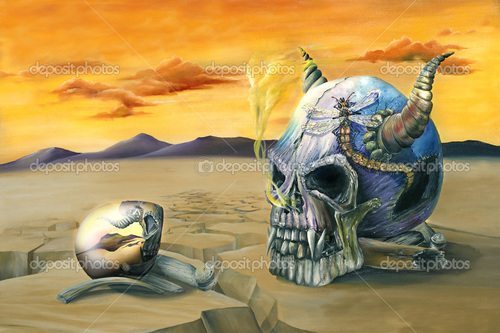 Oil painting of an egg reflecting an evil skull in a barren desert  Stock Photo #3467040