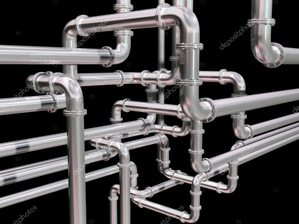 Illustration of a maze of industrial pipes — Stock Photo #3726314