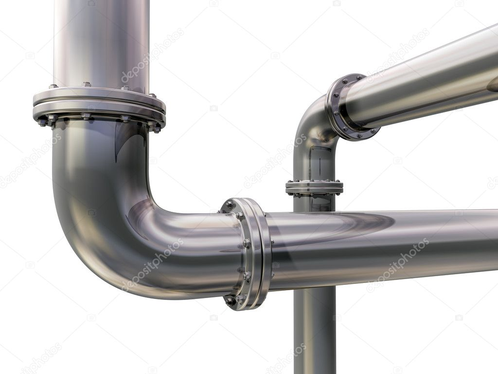 Illustration of two industrial pipes crossing each other — Stock Photo #3726320