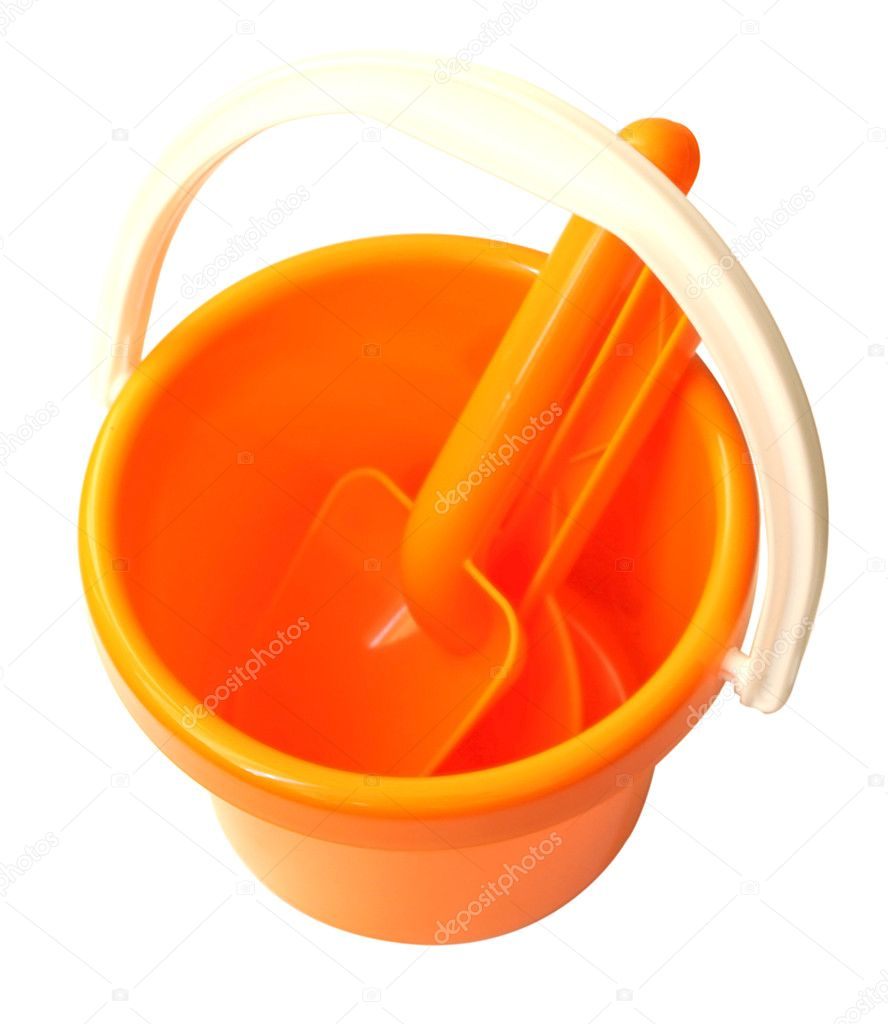 Orange plastic bucket with showels  Stock Photo #3043911