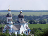 Landscape with church — Stockfoto