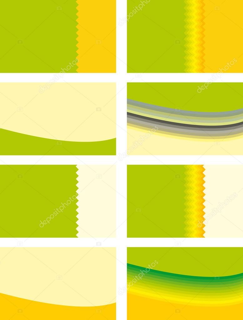 Backgrounds for plastic cards and business cards in green and orange colors  Stock Vector #2768808