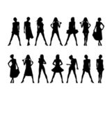 New silhouettes of women 1 — Vector de stock