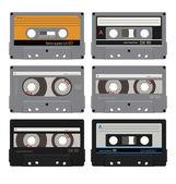 Six audiocassettes 1 — Stock Vector