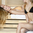 Two Women in a Dry Sauna — Stock Photo