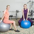 Two Young Women in Gym - Stock Photo