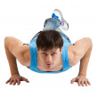 Young man making push-ups. Isolated — Stock Photo