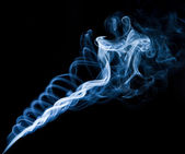 Twisting smoke spiral, black background — Stock Photo