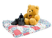 Teddy bear with shoes — Stock Photo