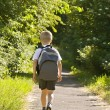 Young boy wearing a backpack - Stock Photo