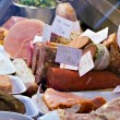 Cold cuts meats and sausages for sale — Stock Photo