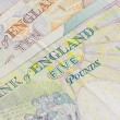 British five ten and twenty pound notes — Stock Photo