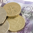 Uk sterling money notes and coins — Stock Photo