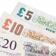Stock Photo: British five ten and twenty pound notes