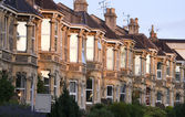 A terrace of typically British Victorian houses — Stock Photo