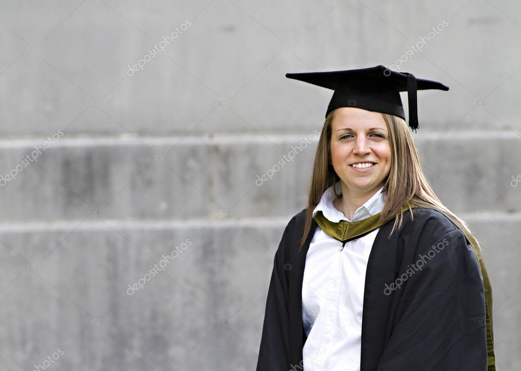 Proud young student at her graduation  Stock Photo #3747181