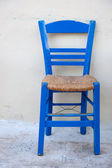 Typical blue Greek chair — Stock Photo