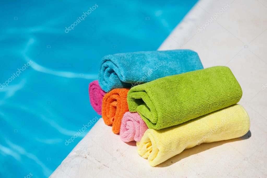 Towels Near The Swimming Pool Stock Photo Ivonnewierink 2716820
