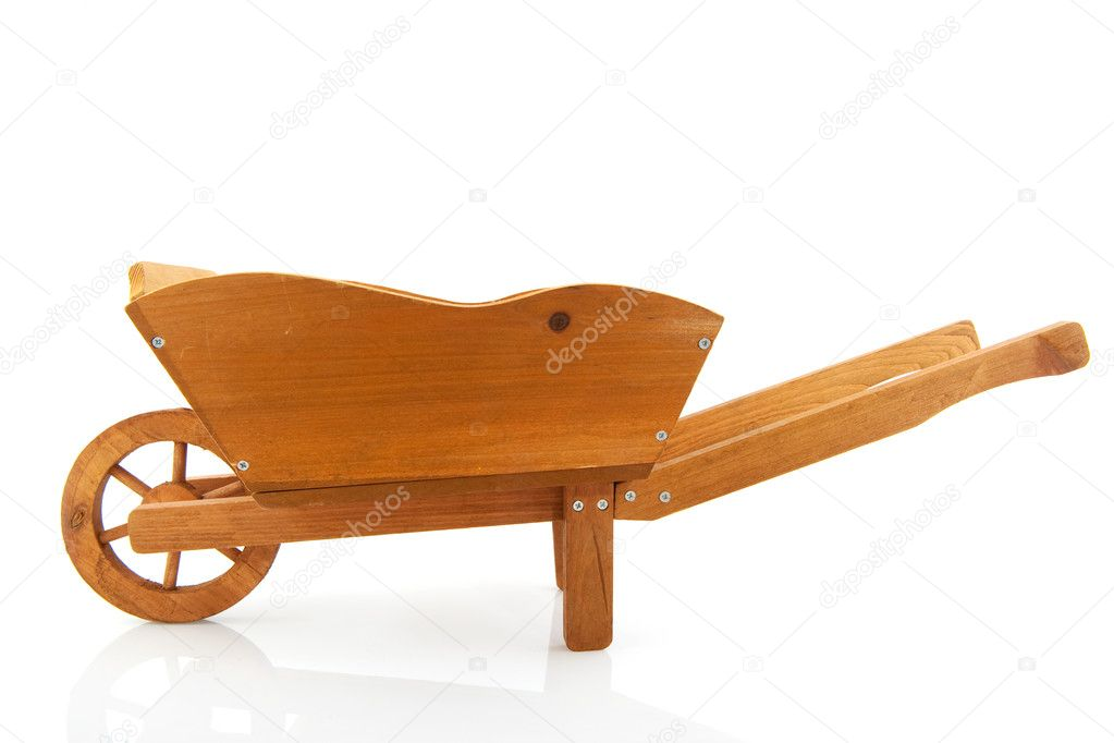 Empty wooden wheelbarrow for the garden isolated over white — Stock Photo #2717066