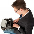 Stock Photo: Writing on the old typewriter