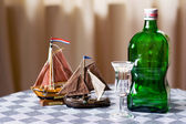 Dutch drink and boats — Stock Photo