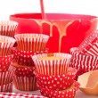 Baking red cup cakes — Stock Photo #2783290