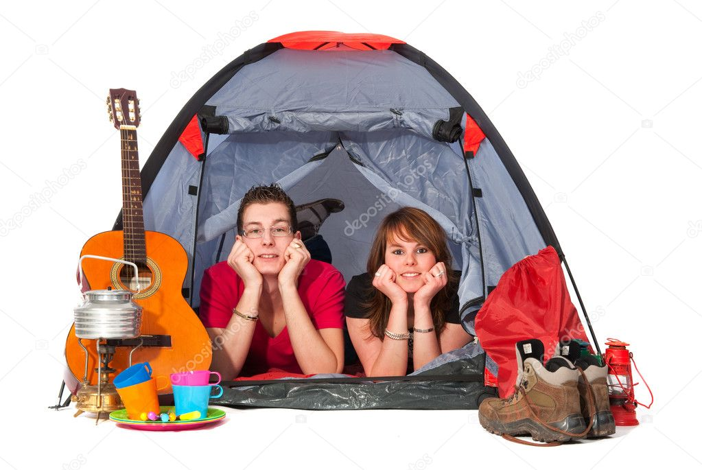 Couple in tent at campground isolated over white  Stock Photo #2848142