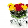 Shopping cart with roses — Stock Photo