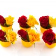 Red and yellow roses in egg cups — Stock Photo