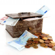 Old rusty money box with Euros — Stock Photo #2882145