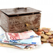 Old rusty money box with Euros — Stock Photo #2882157