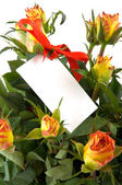 Flowers with notice card — Stock Photo