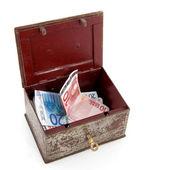 Treasure chest with money — Stock Photo