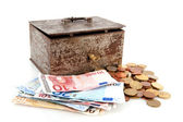 Old rusty money box with Euros — Stock Photo