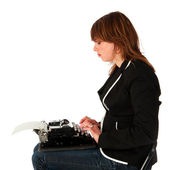Girl typing — Stockfoto