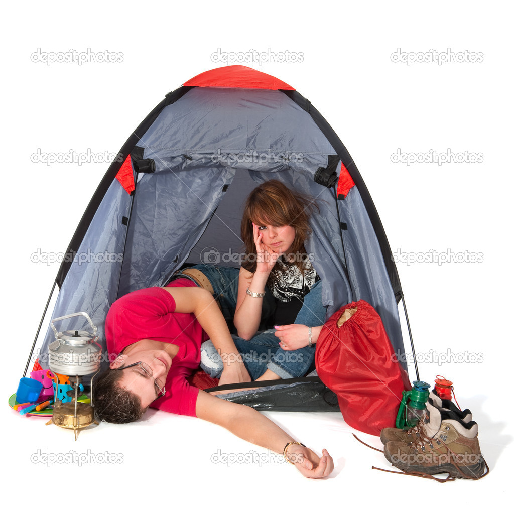 Couple in tent are boring isolated over white — Stock Photo #2888726