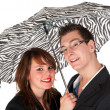 Couple under the umbrella — Stock Photo