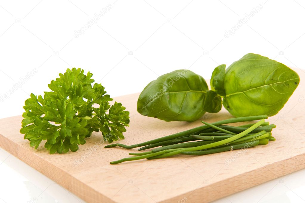 Kitchen herbs as basil parsley and chive  Stock Photo #2916627